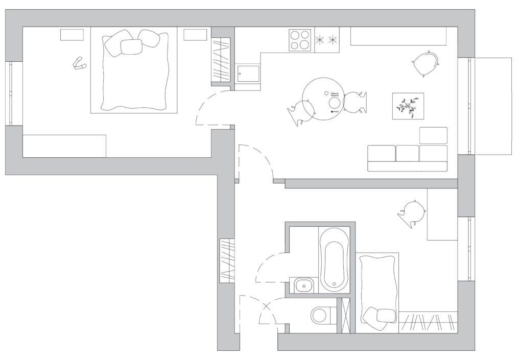 Prodej bytu a vypocet podlahove plochy - JH9 nemovitostni fond - pudorys